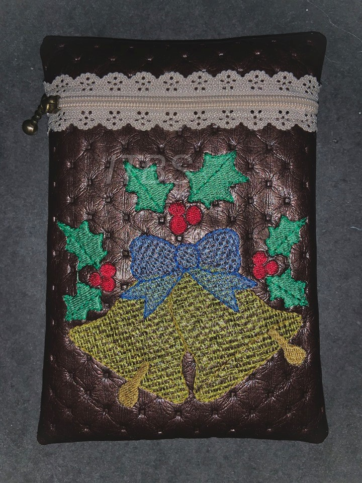 5x7 Bells with holly exposed lace zipper pouch