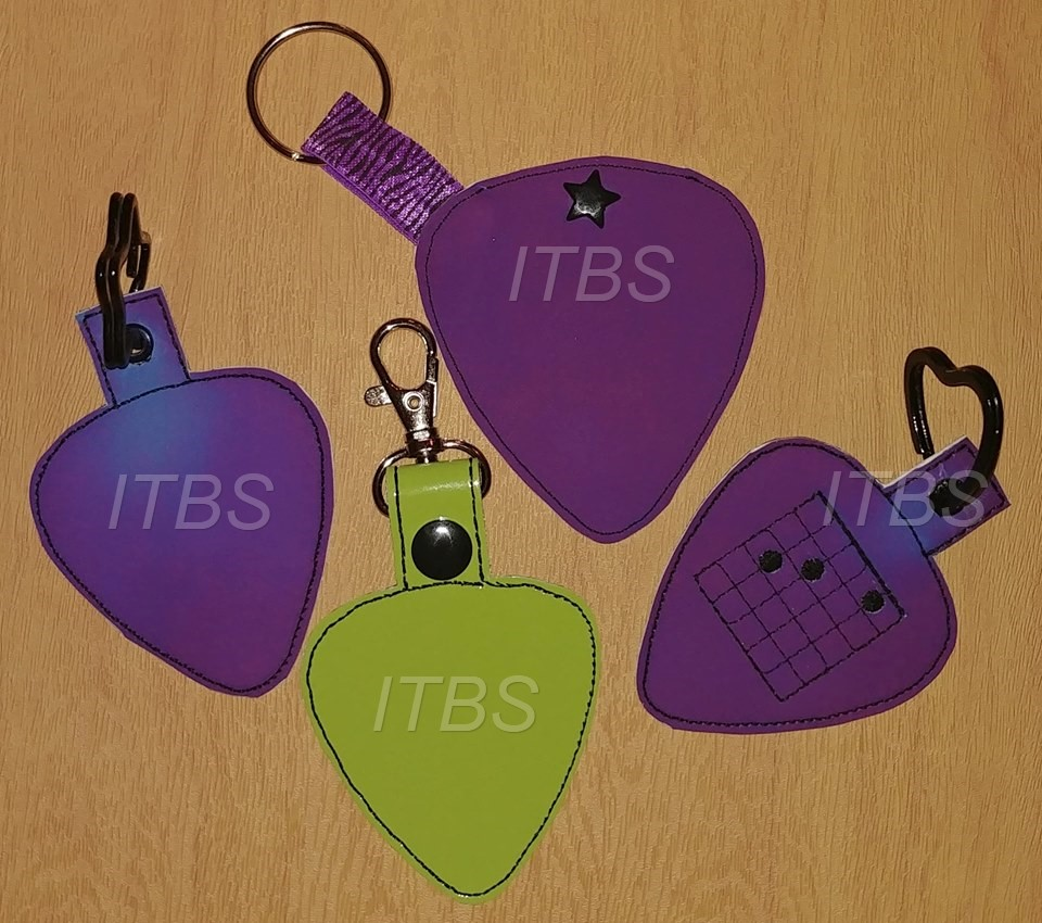 Guitar pick key fob, charm and pocket
