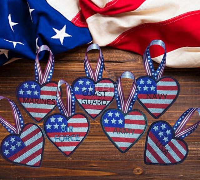 Air Force Army Blank Coast Guard Marines Navy USA heart flag ornaments each ft in a 4x4