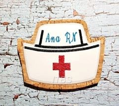 Nurse cap applique 4x4 and 5x7 Font and words not included