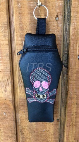5x7 Coffin Skull and crossbone regular zipper bag