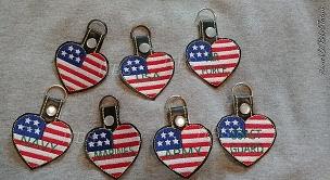 Air Force Army Blank Coast Guard Marines Navy USA heart flag Military key fobs each ft in a 4x4
