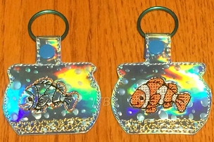 Clown fish in fish bowl key fobs