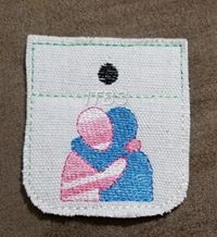 Pocket hug 2 and 3 inch 4x4 satin and triple stitch outline