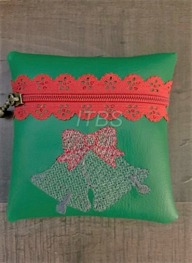 4x4 Bells with holly exposed lace zipper pouch