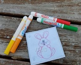 Bunny holding a Easter egg coloring pages 4x4 and 5x7