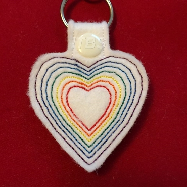 7 heart color lines heart key fob 4x4