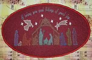 7x11 Christmas Nativity oval place mat