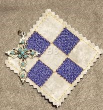 9 patch 4 up sketch filled pocket prayer quilt actual size is aproxamilately 2 1/2