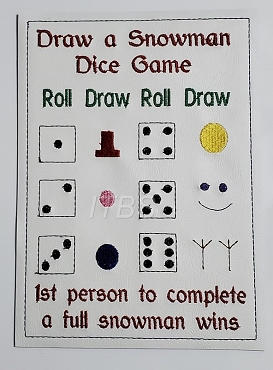 Draw/build a snowman dice game 6x9