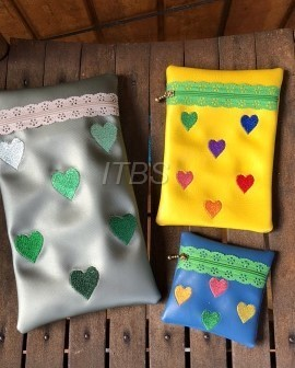 Set of 3 heart rectangle lace zipper bags 4x4 5x7 and 6x10