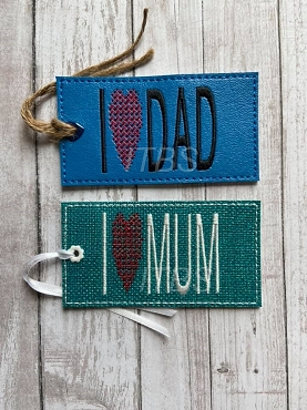 I Love Mum and Dad bookmarks 4x4