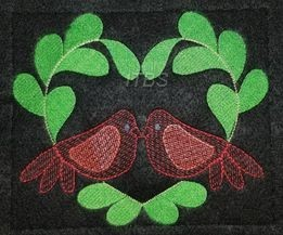 Love birds in leaf heart 6x8 and 8x10 regular designs