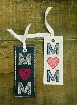 Mom with heart bookmark vinyl and free standing lace