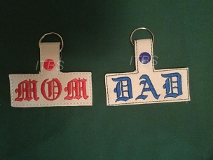 Mom and Dad key fobs and charms Old English 4x4
