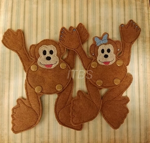 Moveable character boy and girl monkeys