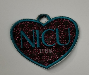 NICU heart applique ornament 4x4 with svg cutting file