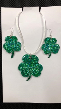 Shamrock necklace and earrings 4x4 3 leaf clover