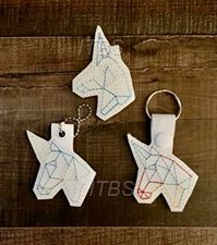 Unicorn head origami charm feltie key fob 4x4